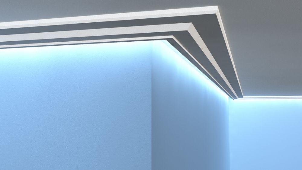 lichtleisten set led stuckprofil aus styropor lo 13. Black Bedroom Furniture Sets. Home Design Ideas
