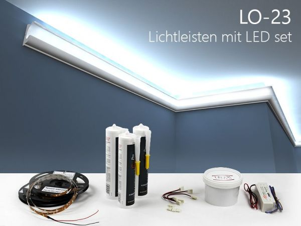 lichtleisten set stuckleiste f r led lo 23. Black Bedroom Furniture Sets. Home Design Ideas
