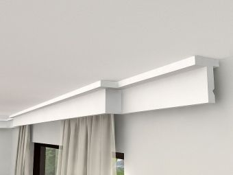 gardinenleisten mit blende aus styropor kunststoff. Black Bedroom Furniture Sets. Home Design Ideas